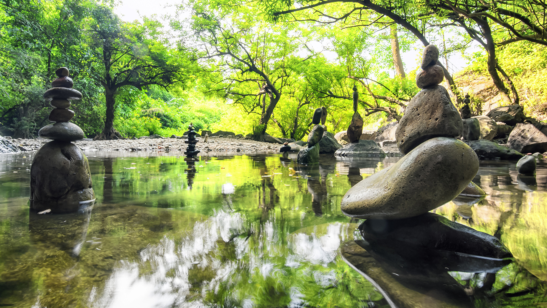 Картинка Природа весенние Пруд Парки Камни Скульптуры 1920x1080 Весна Камень
