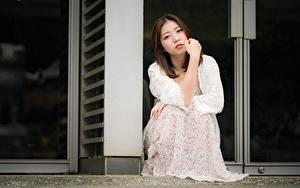 Фото Азиатки Позирует Сидящие Платья Смотрит Шатенки