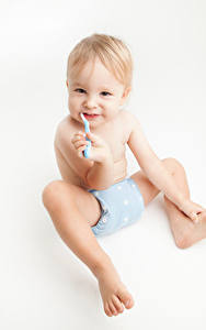 Фотография Белый фон Младенец Сидя Взгляд ребёнок