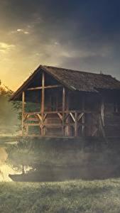 Картинка Озеро Здания Трава Тумана Из дерева Природа