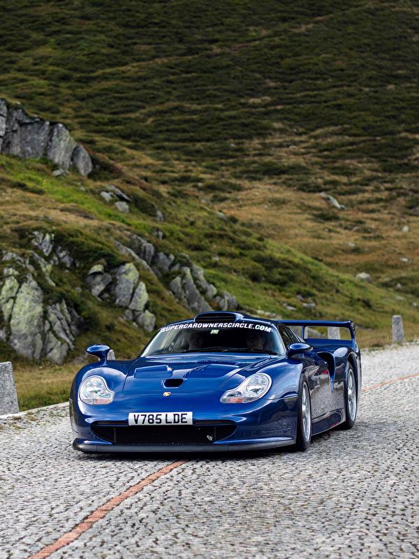 Картинки Порше 1997 911 GT1 Straßenversion Синий едущая машина Металлик 600x800 для мобильного телефона Porsche синяя синие синих едет едущий скорость Движение авто машины Автомобили автомобиль