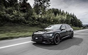 Обои для рабочего стола Ауди Едущий Универсал Черная Металлик TDI, ABT, Avant, 2019, Audi S6 авто