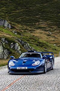 Картинки Порше Синий Металлик Едет 1997 911 GT1 Straßenversion авто