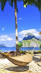 Картинка Тропики Небо Гамак Пальмы Пляж