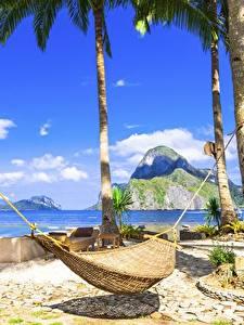 Картинка Тропики Небо Гамак Пальмы Пляжи