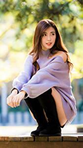 Фотография Азиатки Сидящие Свитере Боке Смотрит девушка