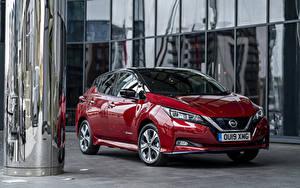 Обои для рабочего стола Nissan Бордовая Металлик 2019 Leaf e авто