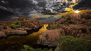Фото Испания Рассветы и закаты Небо Речка Пейзаж Облака Скале Arizona