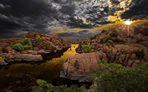 Обои для рабочего стола Испания Рассветы и закаты Небо Речка Пейзаж Облака Скале Arizona Природа