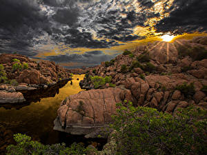 Фото Испания Рассветы и закаты Небо Речка Пейзаж Облака Скале Arizona Природа
