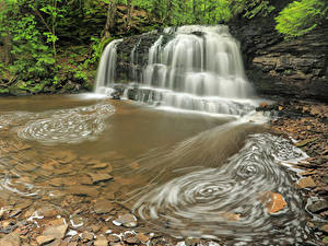 Картинка США Парки Водопады Камни Утес Hiawatha National Forest Michigan