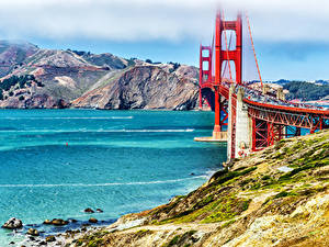 Картинка Штаты Гора Речка Мосты Сан-Франциско