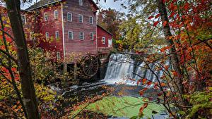 Обои США Водопады Осенние Дома Мельницы Водяная мельница Augusta Wisconsin Природа