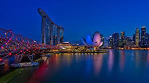 Обои Сингапур Дома Мосты Ночь Гирлянда Города