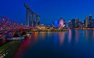Обои Сингапур Дома Мост Ночь Гирлянда Города