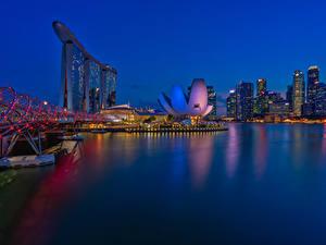 Обои Сингапур Здания Мосты Ночные Электрическая гирлянда Города