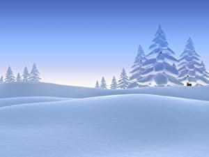 Фото Зима Снег Ели 3D Графика Природа