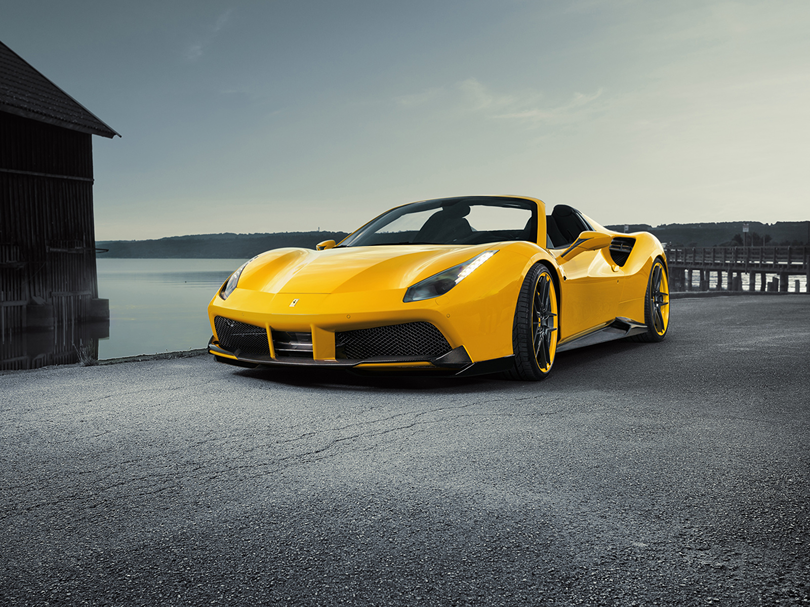 Фотография Ferrari Spider Rosso Novitec 488 Родстер желтая Машины 1600x1200 Феррари желтых желтые Желтый Авто Автомобили