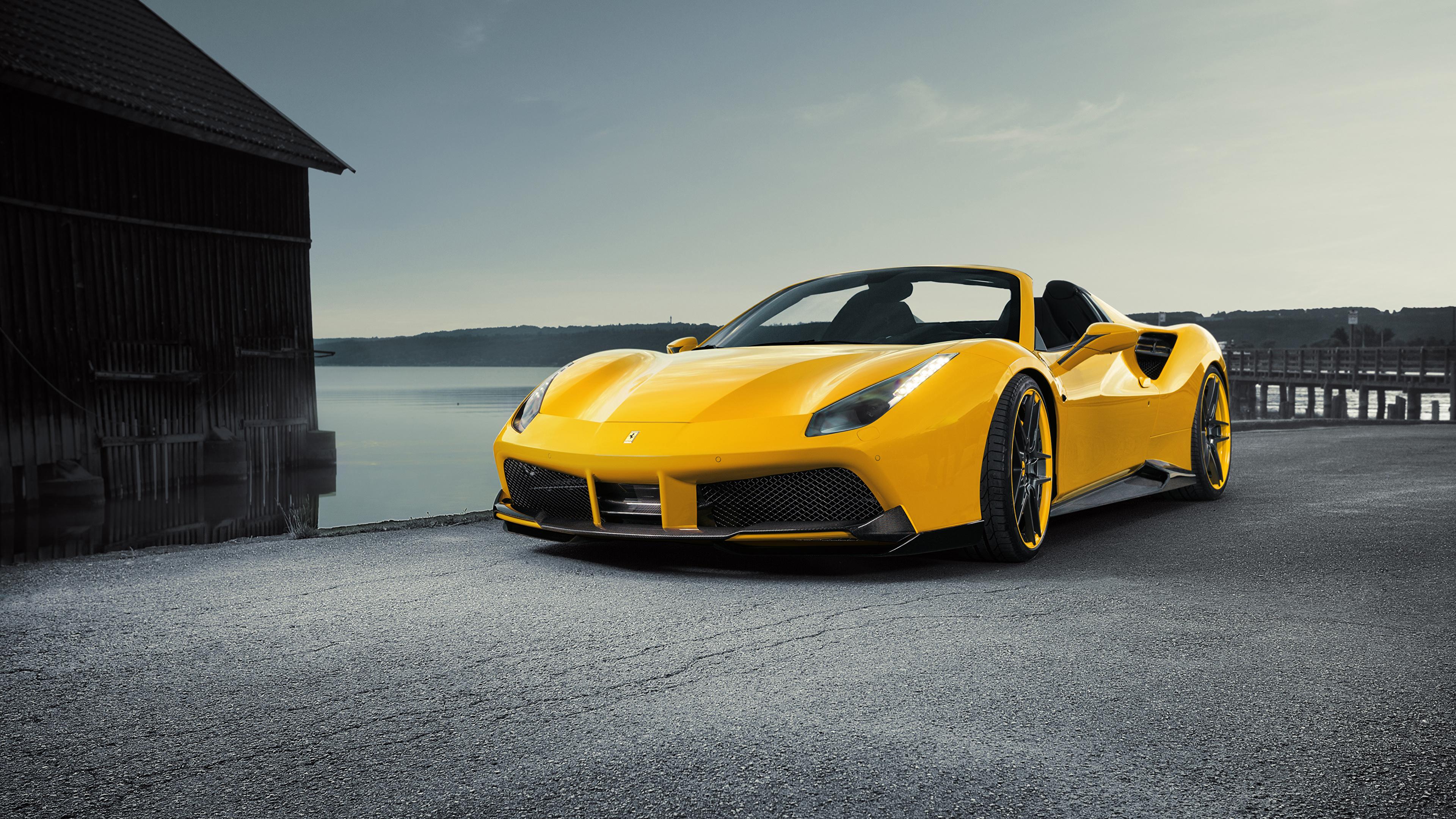 Фотография Ferrari Spider Rosso Novitec 488 Родстер желтая машина 3840x2160 Феррари желтых желтые Желтый авто машины автомобиль Автомобили