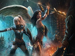 Фото Ангелы Воин Красивые Ardulace, Nicole Фэнтези Девушки