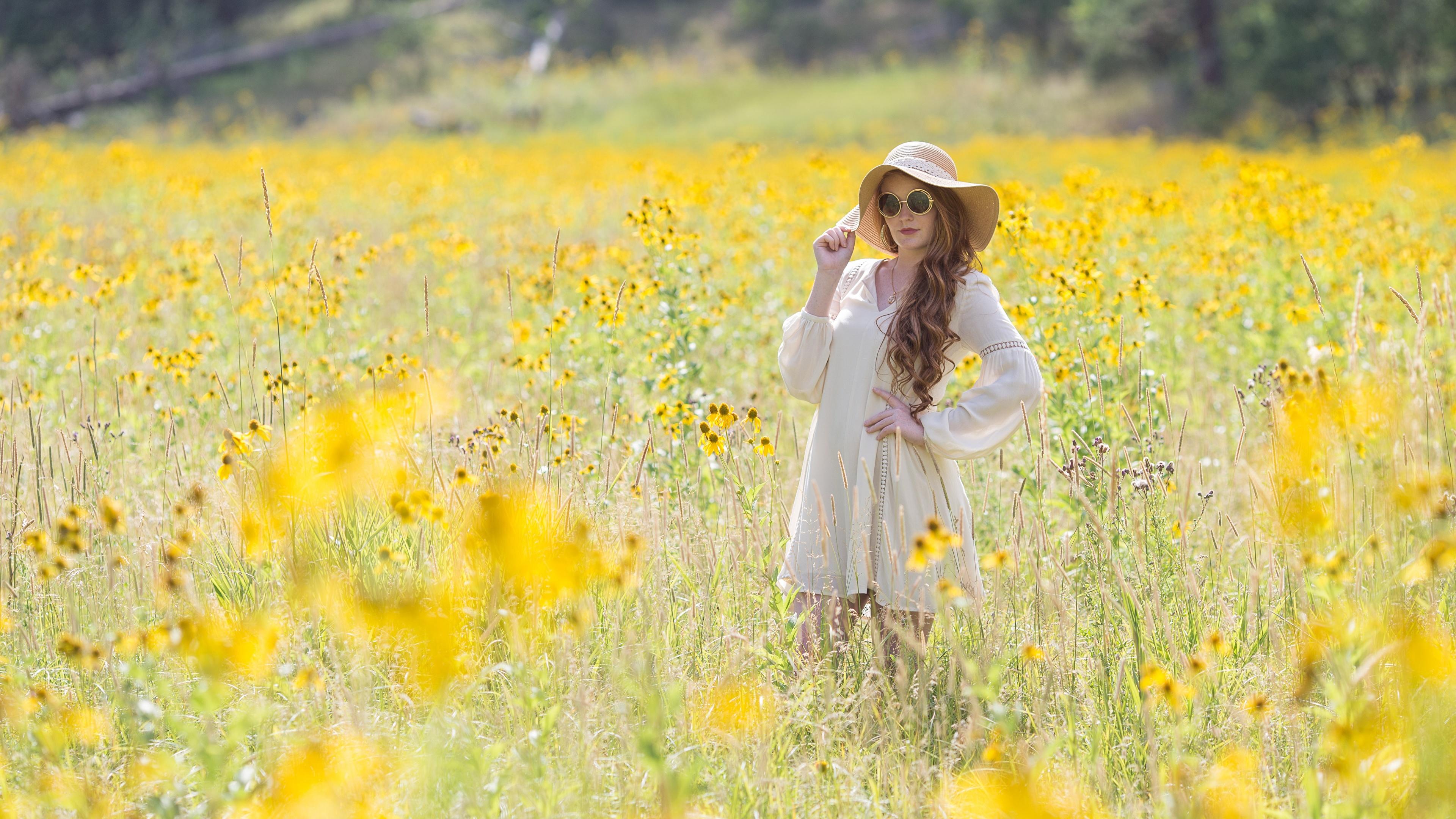 Картинки Шатенка боке Лето Шляпа Девушки Трава очков Платье 3840x2160 шатенки Размытый фон шляпы шляпе девушка молодая женщина молодые женщины Очки траве очках платья