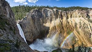 Картинки Горы Водопады Штаты Скала Радуга Йеллоустон Wyoming Природа