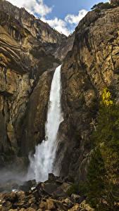 Фото Штаты Парки Водопады Камень Йосемити Утес Ель Природа