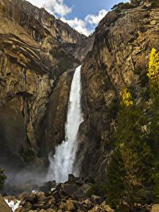 Фото Штаты Парки Водопады Камень Йосемити Утес Ель