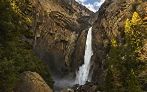 Фото Штаты Парки Водопады Камень Йосемити Скале Ели Природа