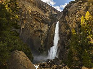Фото Штаты Парк Водопады Камень Йосемити Скале Ели Природа