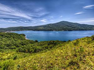 Картинка Россия Реки Холмы Траве Vladivostok Природа