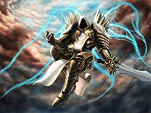 Обои Diablo III Демон Воители Броня Меч Tyrael Игры Фэнтези