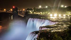 Фотографии Штаты Водопады Речка Нью-Йорк Ночные Лучи света Niagara Falls Природа