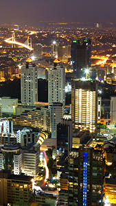 Картинки Стамбул Турция Здания Ночью Сверху Города