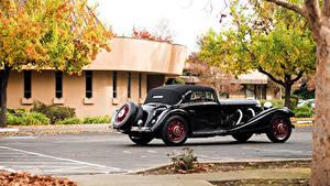 Картинка Мерседес бенц Ретро Черный Металлик 1935-36 500K Cabriolet A Автомобили