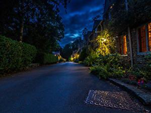 Фотографии Англия Дома Дороги Улице Ночные Castle Combe Города