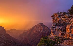 Обои США Гранд-Каньон парк Парки Горы Рассветы и закаты Природа
