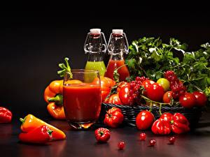 Фото Овощи Томаты Перец Сок Смородина Стакан Продукты питания