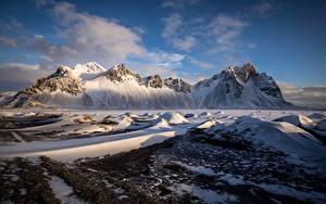 Фото Горы Исландия Снеге Auster-Skaftafellssysla Vestrahorn Природа