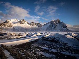 Фото Горы Исландия Снеге Auster-Skaftafellssysla Vestrahorn