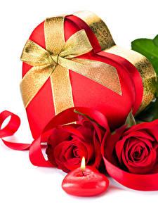 Картинка День всех влюблённых Роза Свечи Белый фон Красных Подарков Бантики Сердца Ленточка цветок