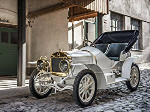 Фотография Старинные Белая Металлик Кабриолета 1908 Laurin Автомобили
