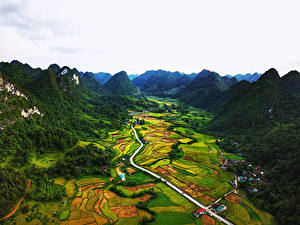 Обои Вьетнам Горы Поля Дороги Bac Can Природа