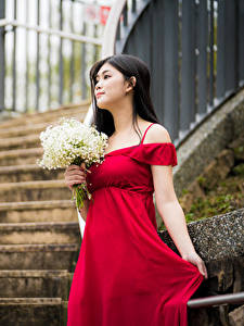 Фотография Букет Азиатки Платья Красная девушка