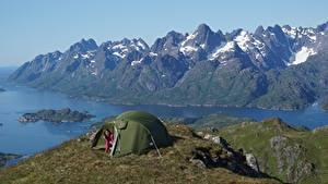 Картинка Норвегия Горы Остров Палатка Lofoten Islands Природа