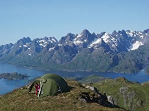 Картинка Норвегия Горы Остров Палатка Lofoten Islands