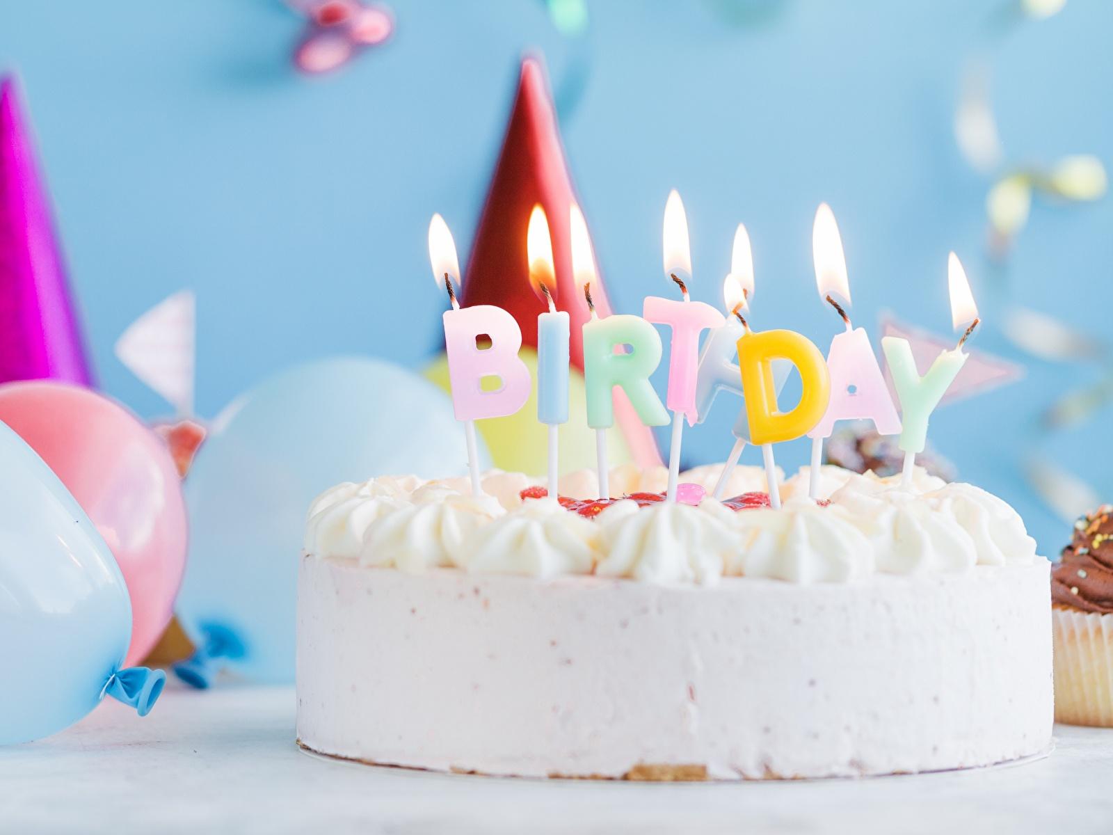 Картинка День рождения Торты Пламя Пища Свечи 1600x1200 Огонь Еда Продукты питания
