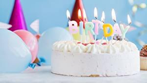 Картинка Торты Свечи День рождения Огонь