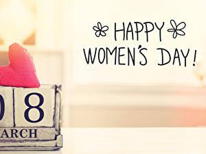 Картинка Международный женский день Английский Сердечко