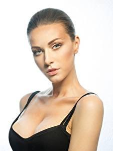Фотография Модель Красивый Мейкап Взгляд Декольте молодая женщина